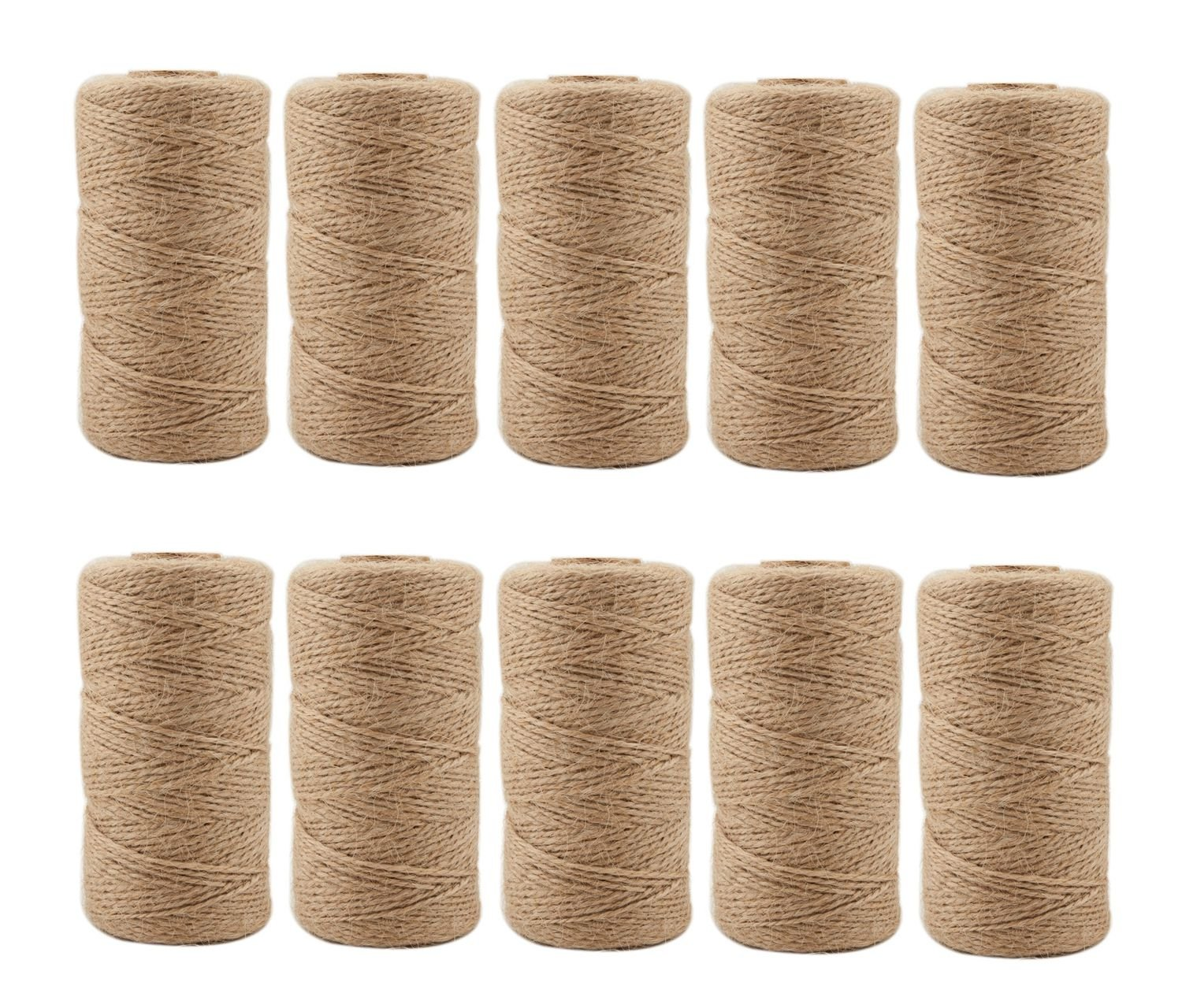 Natural Jute Twine 656 Feet 6 Ply 3mm Best Arts Crafts Gift Twine Christmas Twine Industrial Packing Materials Durable String for Gardening Applications (2 PCS x 328 Feet) ILIKEEC