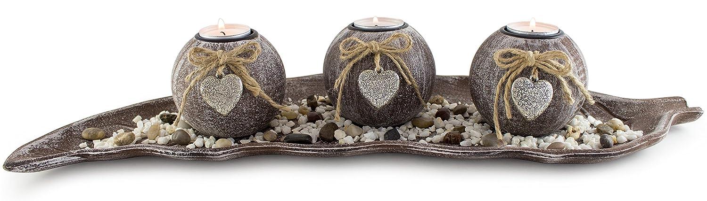 Brubaker set portacandele con 4 lumini, pietre decorative e piattino