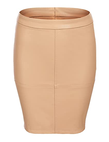 3e2e6ee785 Shine Women's Faux Leather High Waist Slim Fit Pencil Mini Skirt at Amazon  Women's Clothing store:
