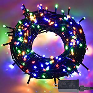 100 LED Christmas String Lights, 32Ft Waterproof Fairy Lights with 29V Power Plug in, 8 Lighting Modes Indoor Outdoor String Lights for Garden, Wedding Party, Christmas Decoration (Multicolor)