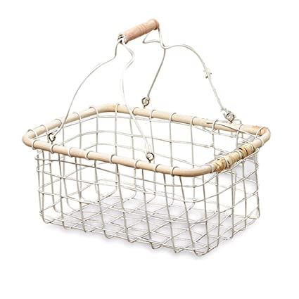 Amazon.com: The Farmer\'s Market White Wire Basket,Iron with Rustic ...