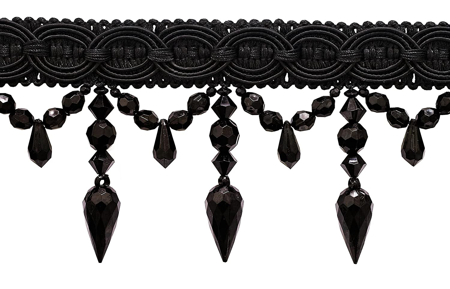Black 3.75 Inch Beaded Tassel Fringe, Style# BF334 Color: BLACK - K9 (Sold by The Yard) DecoPro