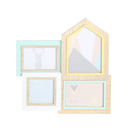 THE HOME DECO FACTORY Mix of Frames for 4 Photos, Wood/PVC, 35 x 1,5 ...
