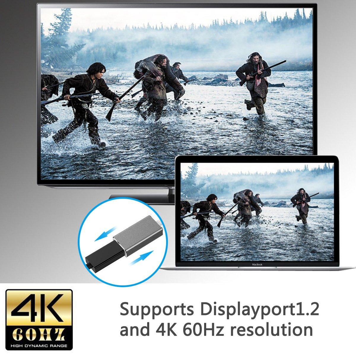 USB tipo C adaptador a Mini DisplayPort, USB-C a Mini DP Cable adaptador, 4K 60 Hz, soporta 4K resolución Uhd para nueva Apple MacBook 2017 y ...