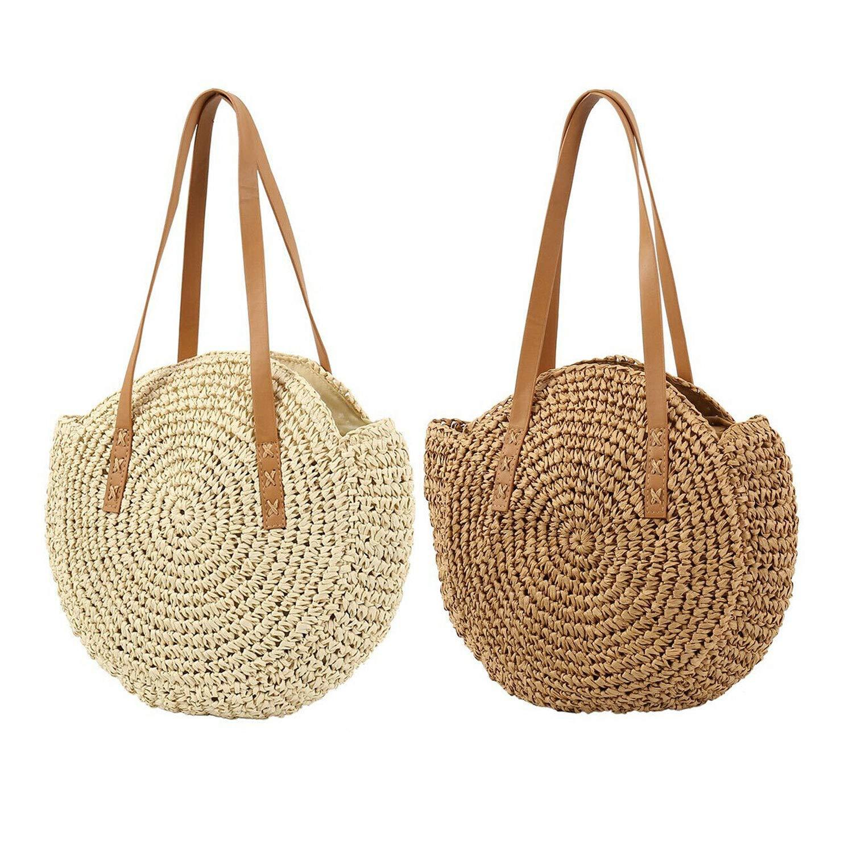LUI SUI Rund naturlig halm crossbody väska kvinnor handgjord vävd axelväska sommar strand handväskor och handväska, - Khaki - Large 02 beige