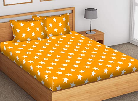 0d00ee4ecb7 SheetKart Stars 144 TC Printed Cotton King Size for Double Bedsheet with 2  Pillow Covers
