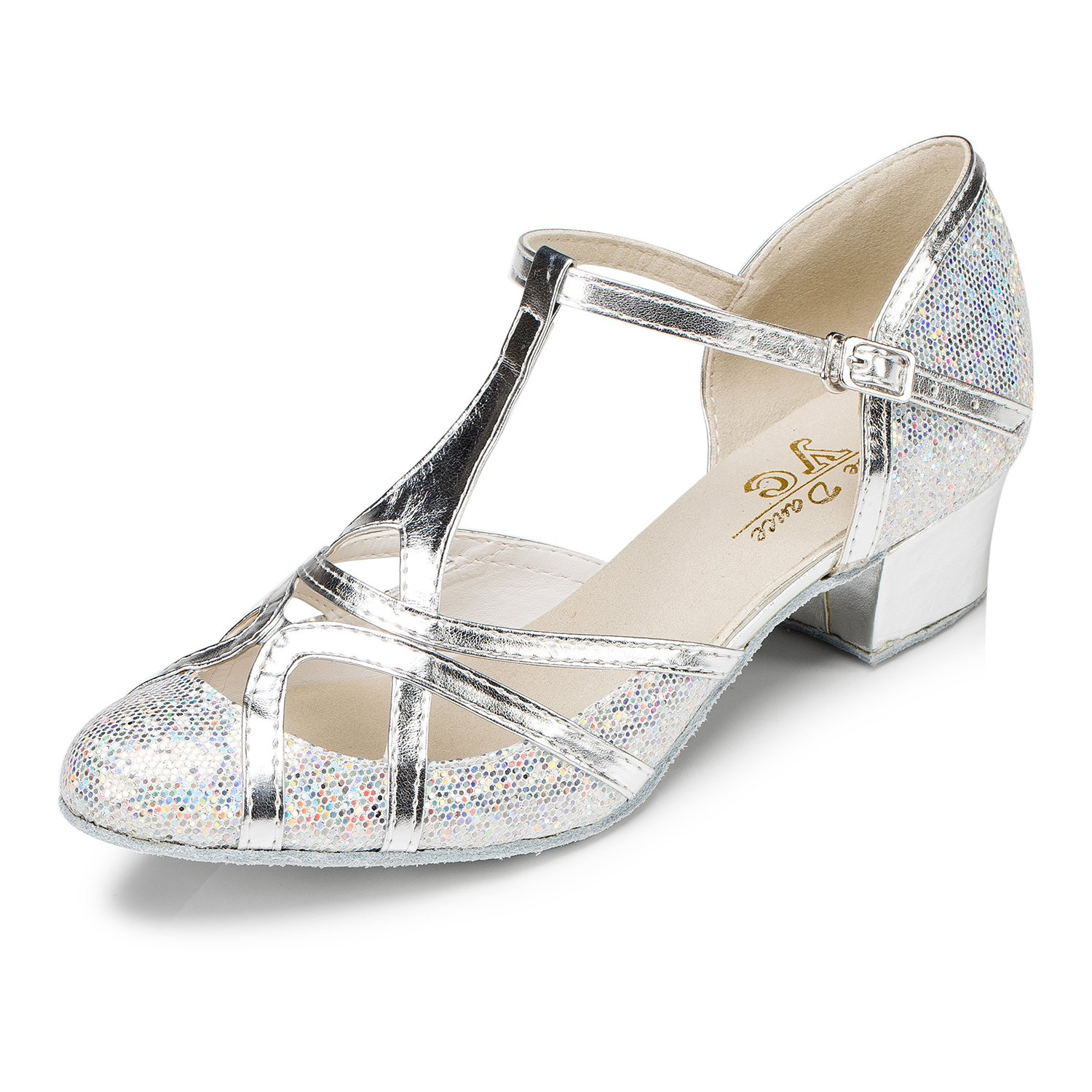 CRC Women's Round Toe T-Strap Silver PU Leather Glitter Material Ballroom Morden Tango Salsa Professional Dance Shoes 8.5 M US