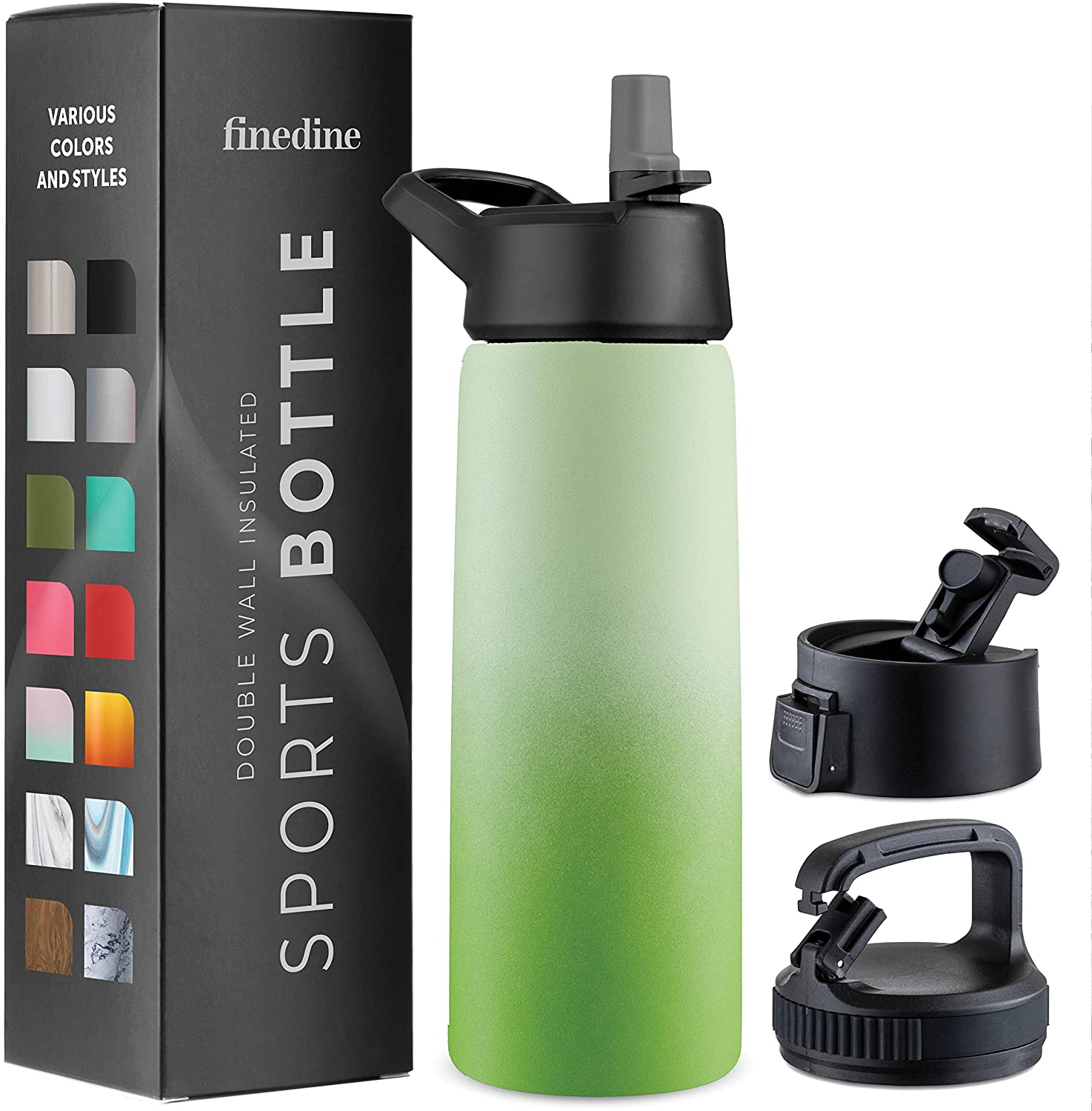 Triple Insulated Stainless Steel Water Bottle with Straw Lid - Flip Top Lid - Wide Mouth Cap (26 oz) Insulated Water Bottles, Keeps Hot and Cold - Great for Hiking & Biking.