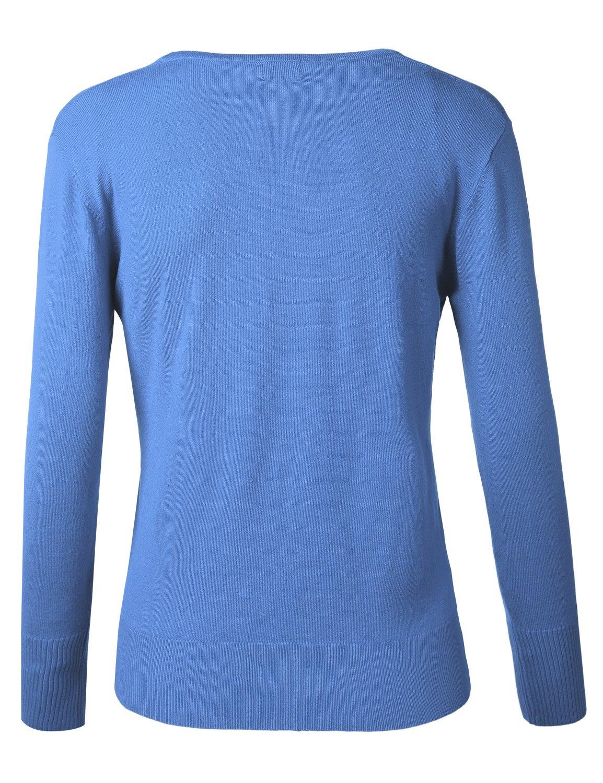 BIADANI Women Button Down Long Sleeve Soft V-Neck Cardigan Sweater Cobalt Large by BIADANI (Image #3)