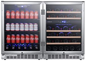 EdgeStar CWBV14246 48 Inch Wide 46 Bottle 142 Can Built-In Side-by-Side Wine and Beverage Center