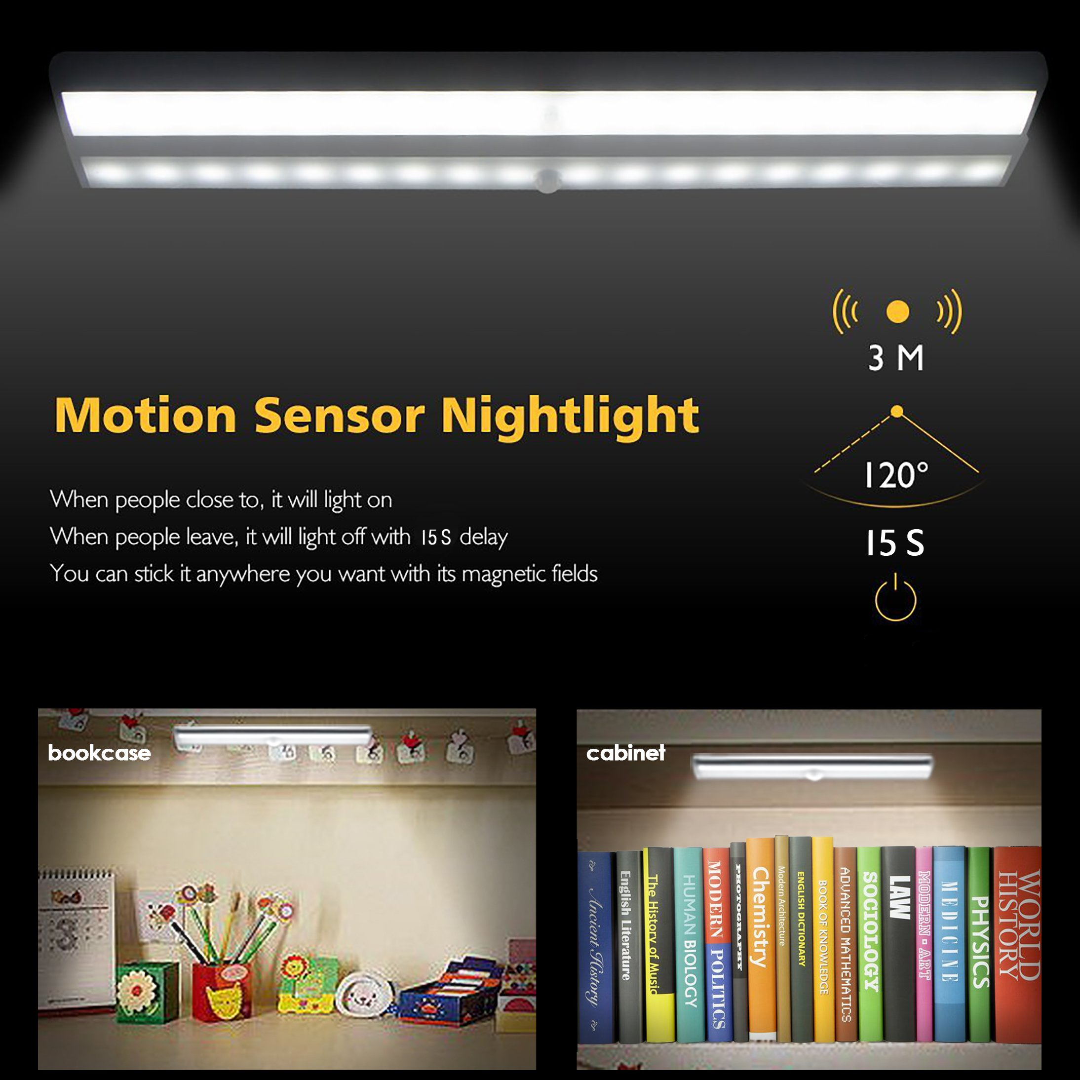 Closet Light - LED Motion Sensor Light, Under-Cabinet Lighting, Battery Operated, 10 LED Night Lights, Wireless Portable Aluminum Magnetic Strip Stick On Anywhere, 160lm 3-Pack
