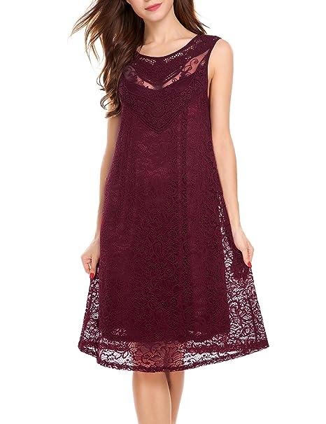 Beyove Damen Spitzenkleid A-Linie Kleid Ärmellos Festliches Kleid  Abendkleid Partykleid Knielang (EU 36 b6af5ea7a2