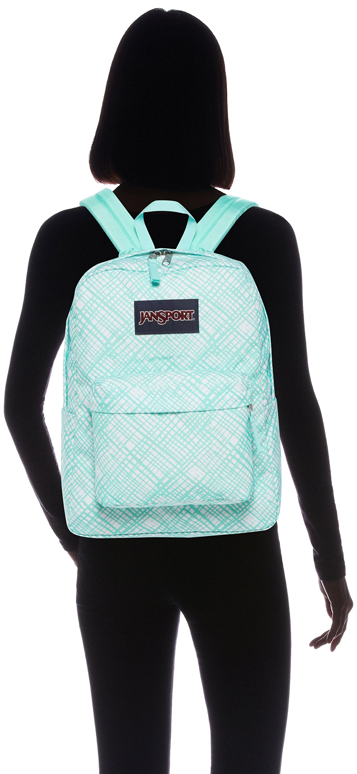 JanSport Womens Classic Mainstream Superbreak Backpack - Aqua Dash Jagged Plaid / 16.7'' H X 13'' W X 8.5'' D by JanSport (Image #4)