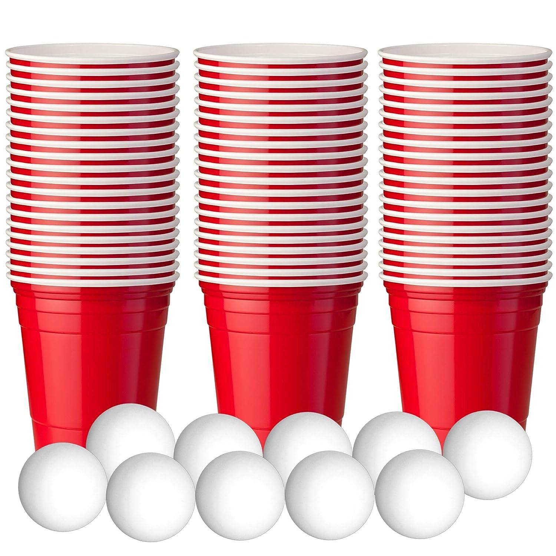 180 Mini Vasos de Chupito de Plástico de Duro - Americano Beer Pong - Juego para Bebe Cerveza, incluye 10 mini pelotas - Desechables y Reutilizables - Vaso para Fiestas, Cócteles, Refrescos, Celebraciones, Navidad, Halloween, etc. MATANA