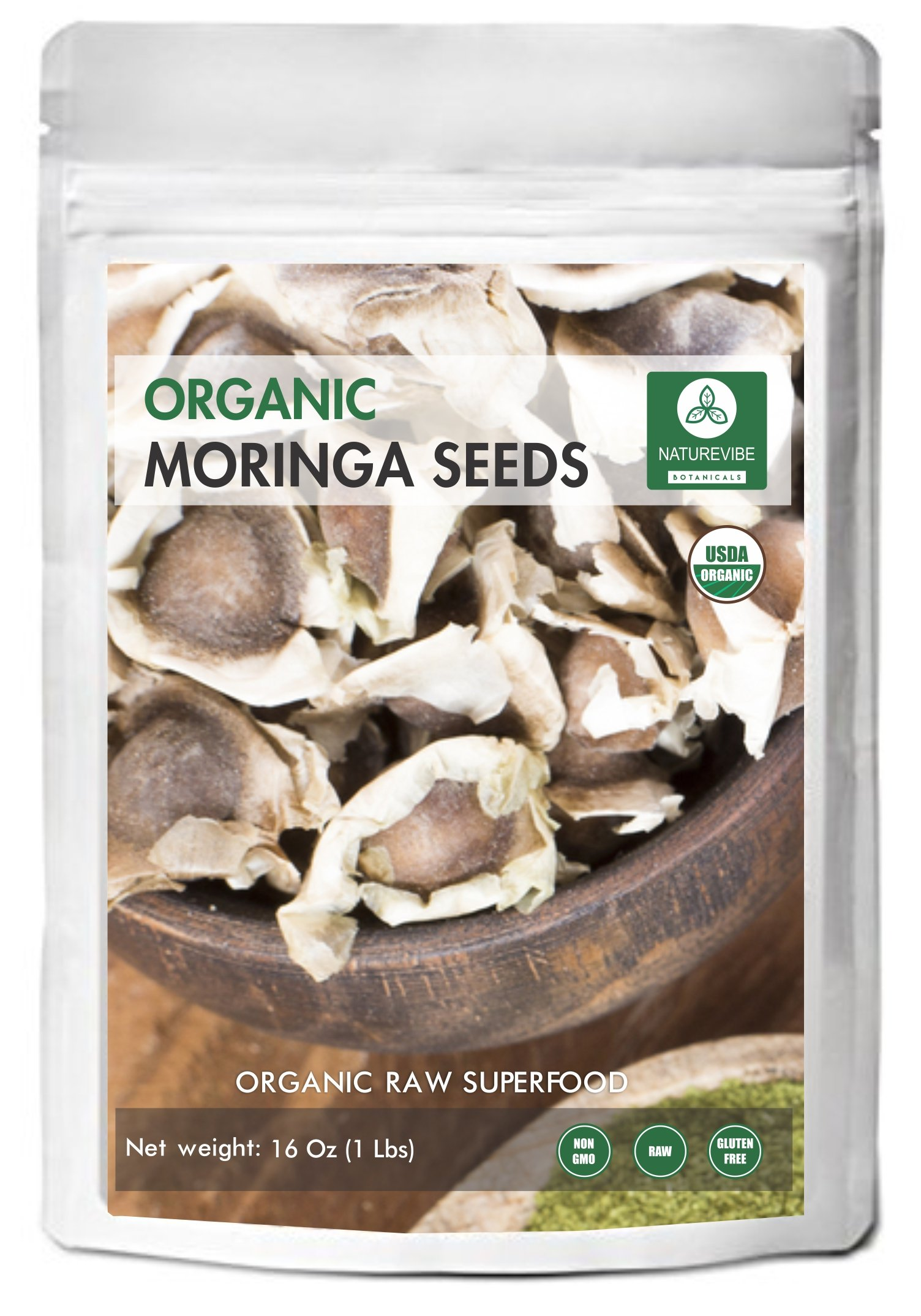 Approx 1500 Moringa Seeds (1lb), Dried Organic PKM1 Quality Herbal Dietary Supplement by Naturevibe Botanicals