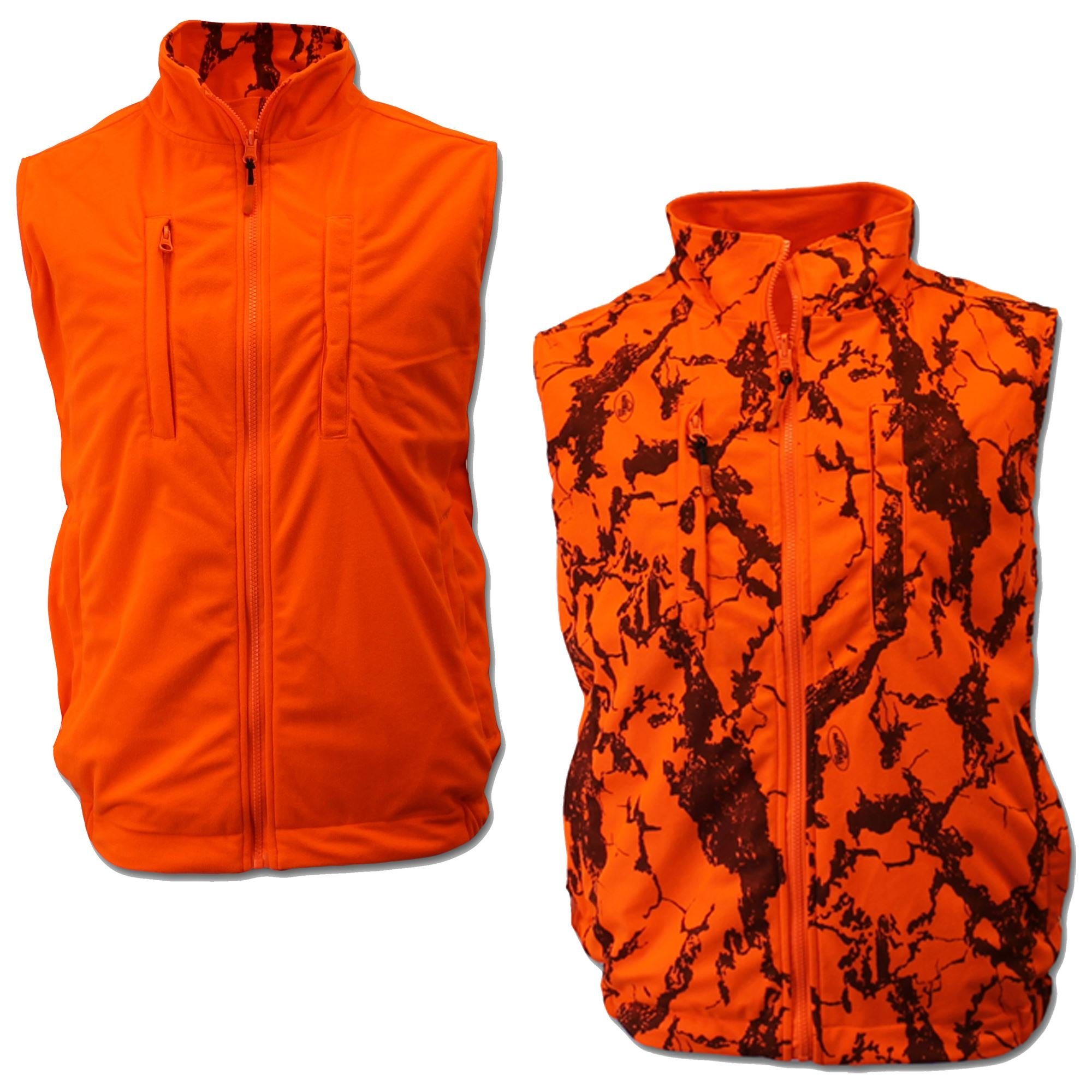 Natural Gear Reversible Orange Safety Vest with Zipper Closure, Orange Blaze Camo Hunting Vest for Women and Men, 100% Poly Shell Fleece and Liner (XX-Large) by Natural Gear