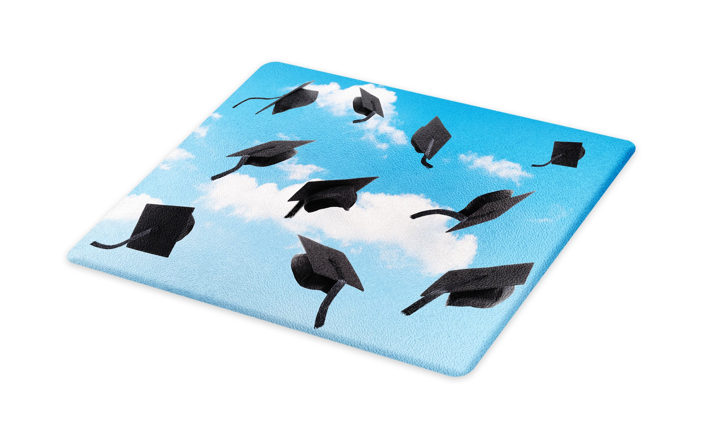 Lunarable Graduation Cutting Board, Caps Thrown into Sky Last of The School Highschool College Ceremony Picture, Decorative Tempered Glass Cutting and Serving Board, Small Size, Blue Black