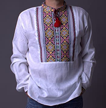 Amazon.com  Vyshyvanka Mens Ukrainian Embroidered White Shirt Cross ... 900a11a24