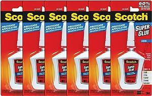 Scotch Super Glue Liquid in Precision Applicator, 0.14 oz, 6 Pack
