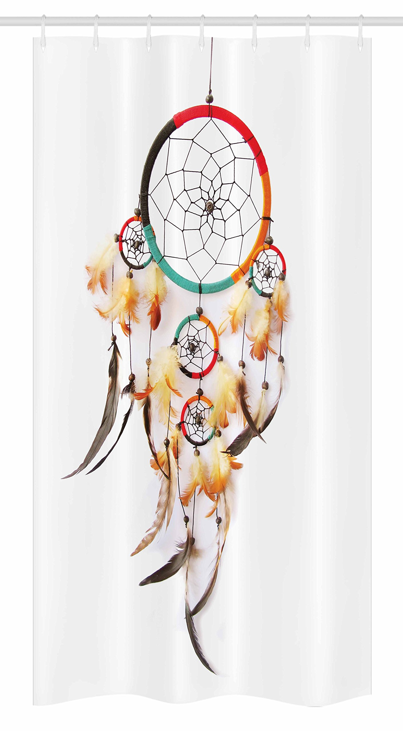 "Ambesonne Tribal Stall Shower Curtain, Retro Style Bohemian Dreamcatcher Image Indigenous Culture Feather, Fabric Bathroom Decor Set with Hooks, 36"" X 72"", Multicolor"
