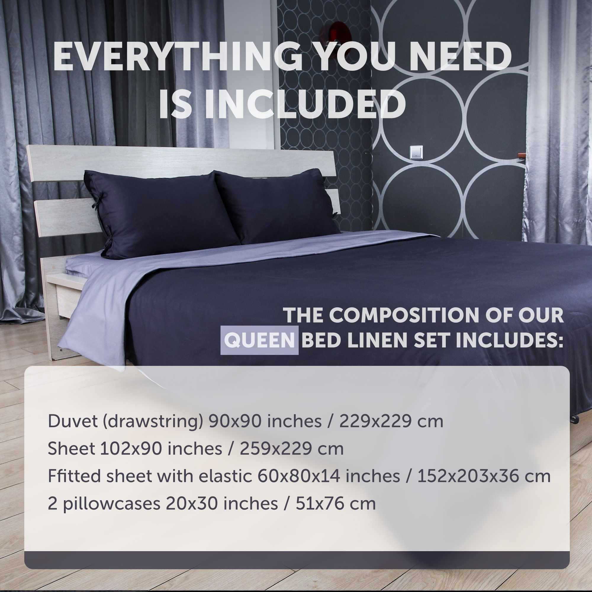 Cloudy Hugs Bed Linen Set – 100% Natural Textile: Sateen – & Comfortable for Sweet Dreams - 5 pc Set -Queen, Dark Gray/Light Gray by Cloudy Hugs (Image #2)