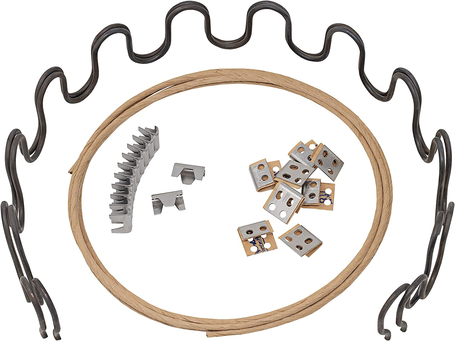"""House2Home 18"""" Sofa Upholstery Spring Replacement Kit- 2pk Springs, Clips, Wire for Furniture Chair Couch and Recliner Repair Includes Instructions"""