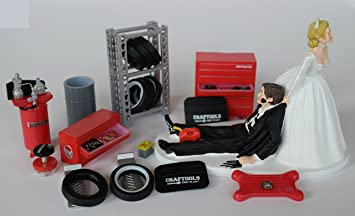 Funny Wedding Cake Topper For Mechanics Comes With Miniature Garage Accessories Set