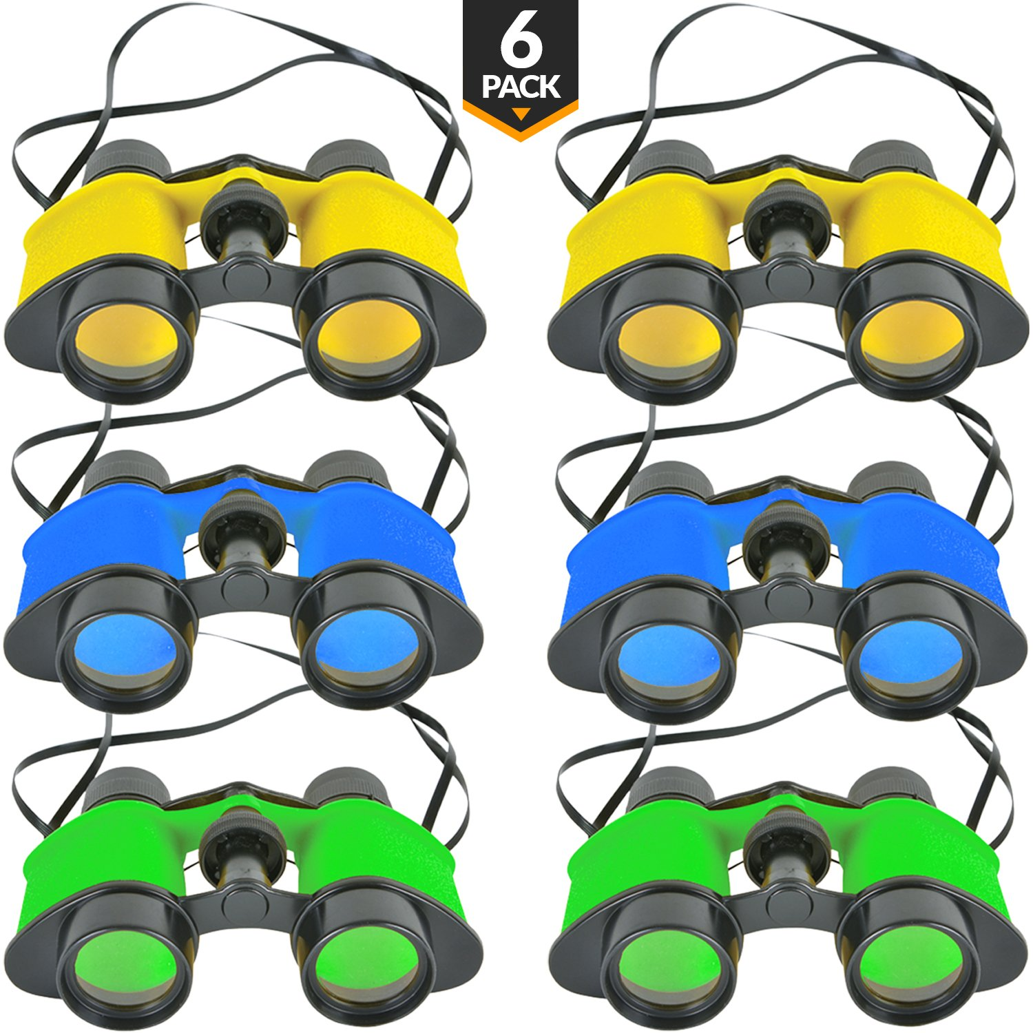 Kids Toy Binoculars (6 Pack) In Assorted Vivid Colors, With Neck String, Small Prizes, Perfect Party Favor For Boys Girls, By Bedwina