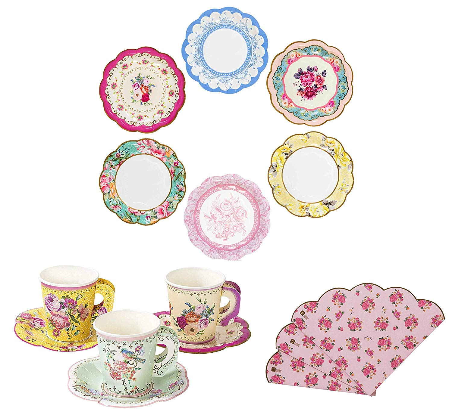 Talking Tables Vintage Floral Tea Party Supplies | Scalloped Paper Plates, Napkins, Tea Cups and Saucer Sets | Also Great for Wedding Parties, Bridal Shower, Baby Shower and Birthday Party by Talking Tables (Image #1)