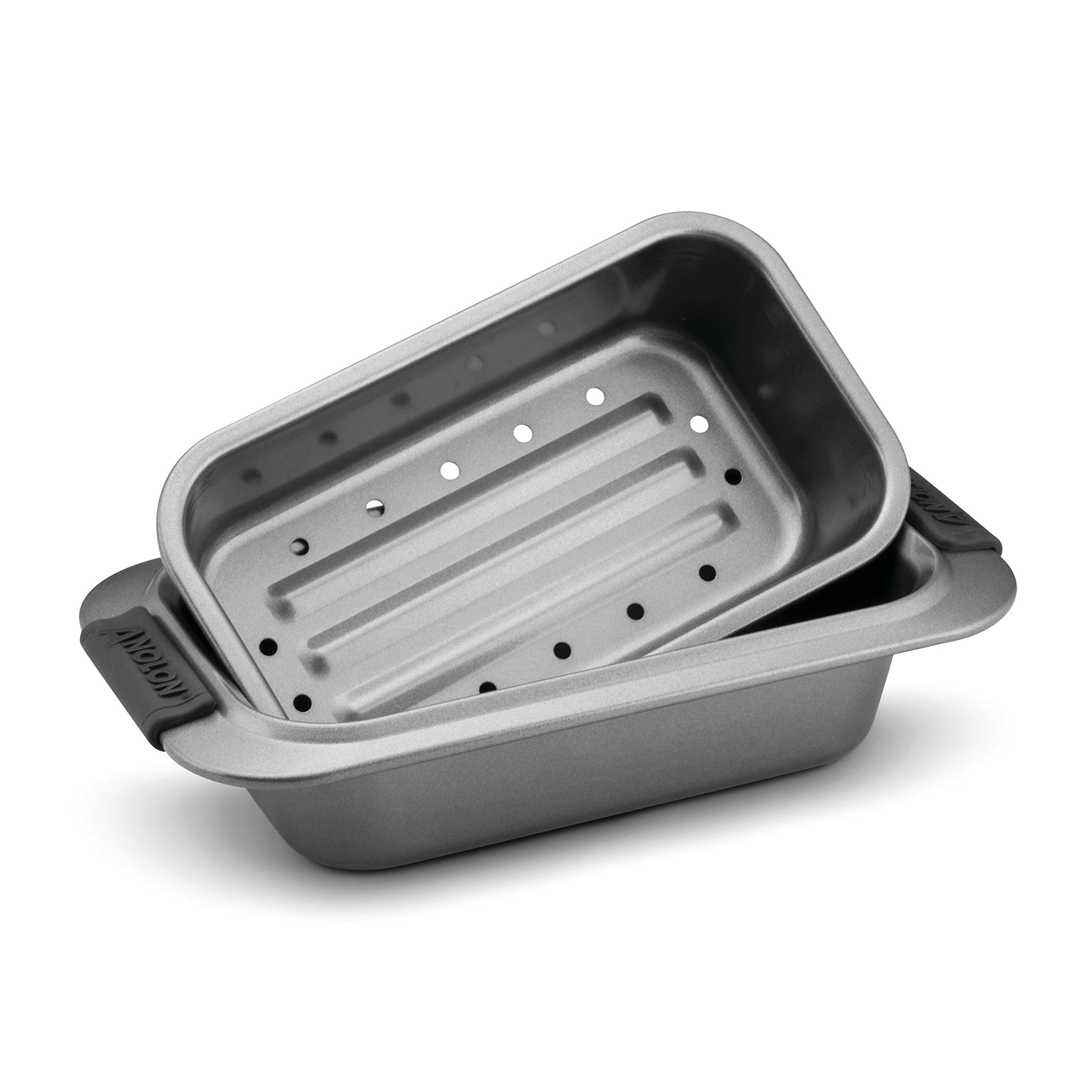Anolon Advanced Nonstick Bakeware 2-Piece Loaf Pan Set, Gray with Silicone Grips