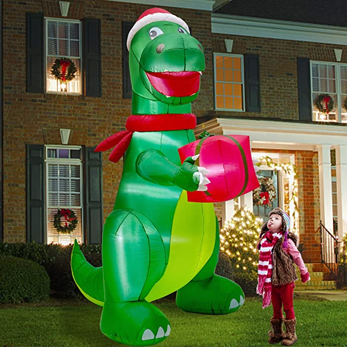 Twinkle Star Christmas 8FT Inflatables Lighted Green Dinosaur with Christmas Hat and Gift Box, Blow Up Indoor Outdoor Xmas Decor Lawn Yard Garden Decorations
