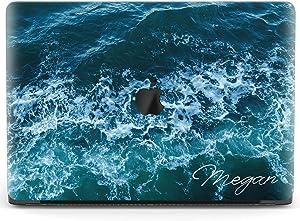 Mertak Hard Case for Apple MacBook Pro 16 Air 13 inch Mac 15 Retina 12 11 2020 2019 2018 2017 Ripples Cover Waves Laptop Protective Blue Print Custom Texture Sea Ocean Name Clear Touch Bar Plastic