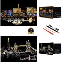 UPSTONE Scratch Art Paper Rainbow Painting Sketch Pad DIY Night View Scratchboard for Adults and Kids,16 X 11.5 Inches (Las Vegas&London Bridge)