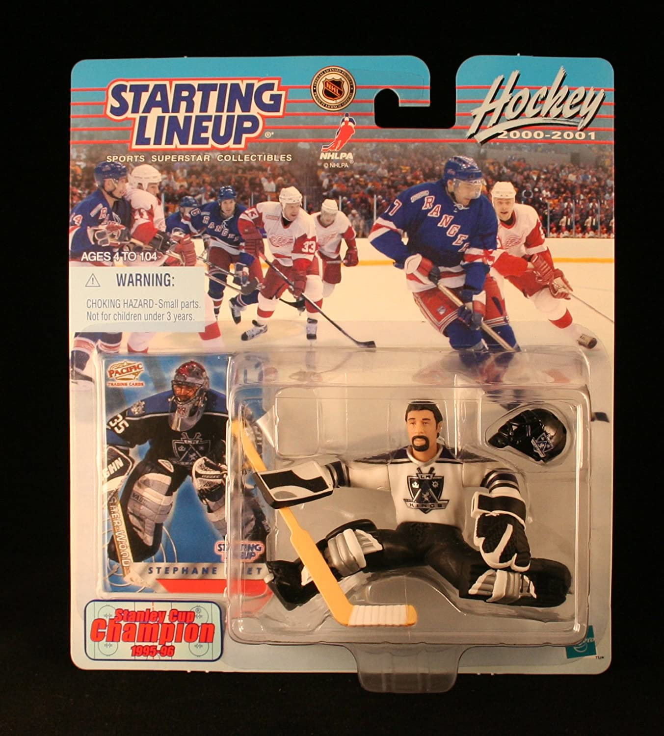 LOS ANGELES KINGS 2000-2001 NHL Action Figure /& Exclusive Collector Trading Card Hasbro 73023 Starting Lineup STEPHANE FISET