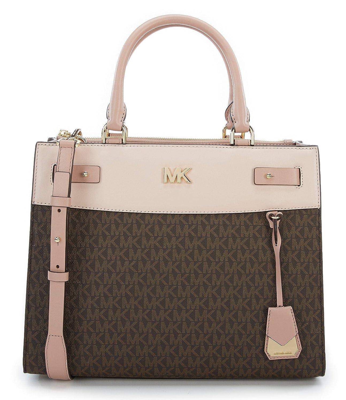 dd1f216c578f4a MICHAEL Michael Kors Signature Reagan Large Leather Satchel Bag, Brown Soft  Pink Fawn: Handbags: Amazon.com