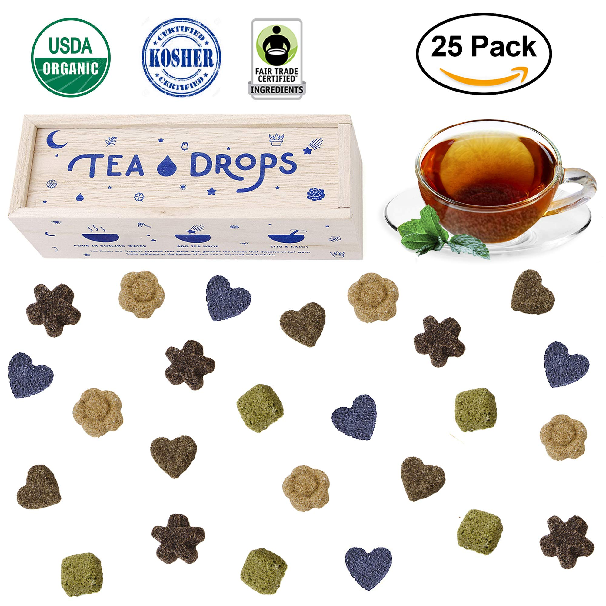 Sweetened Organic Loose Leaf Tea | Deluxe Herbal Sampler Assortment Box | Instant Pressed Teas Eliminate the Need for Teabags and Sweetener | Tea Lovers Gift | Delicious Hot or Iced | By Tea Drops by Tea Drops