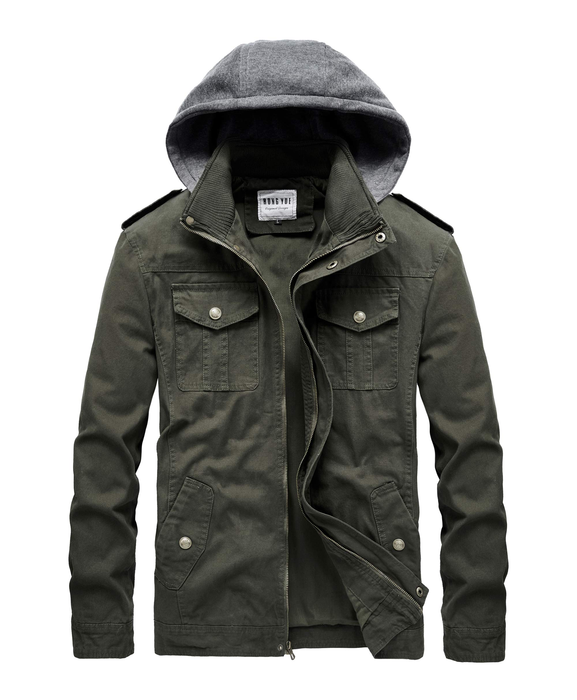 RongYue Men's Casual Cotton Military Jacket with Removable Hood Army Green by RongYue