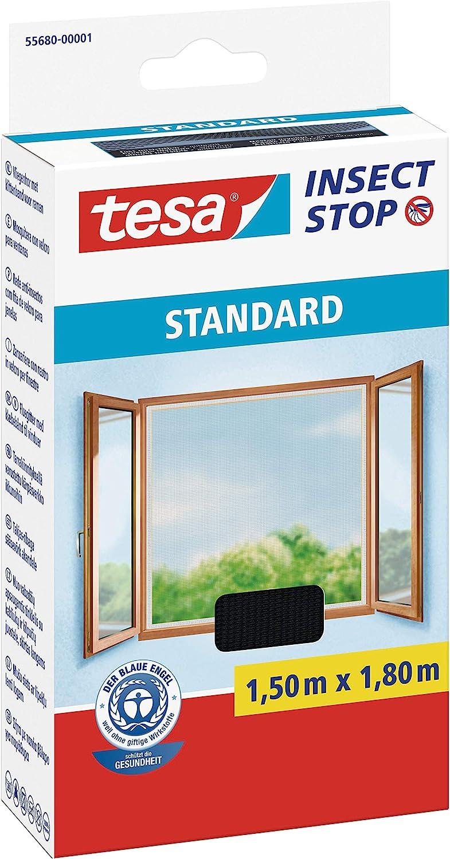 tesa Insect Stop STANDARD Fliegengitter f/ür Fenster Insektenschutz zuschneidbar 130 cm x 150 cm M/ückenschutz ohne Bohren Fliegen Netz anthrazit