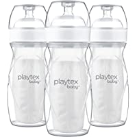 Playtex Baby Nurser Bottle with Pre-Sterilized Disposable Drop-Ins Liners, Closer to Breastfeeding, 8 Ounce Bottles, 3…