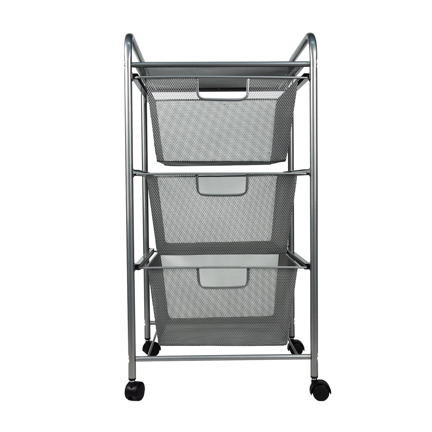 YIMU 3 Tier Metal Mesh Rolling Cart with 3 Drawers, Office& Kitchen Storage with Rolling Wheels, Silver, L14 W13 H27 Inches