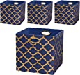 Posprica Storage Bins, Storage Cubes Baskets Boxes Containers Closet Organizers,More Durable Fabric Drawers, Navy/Gold Lantern, 13''/4pcs