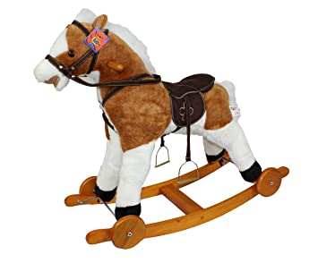 Cavallo A Dondolo Con Ruote.Mondial Toys Cavallo A Dondolo In Legno E Pelouche Con Ruote
