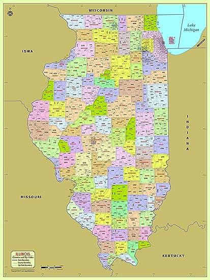 Amazon.com : Illinois County with Zip Code Map - Laminated (36
