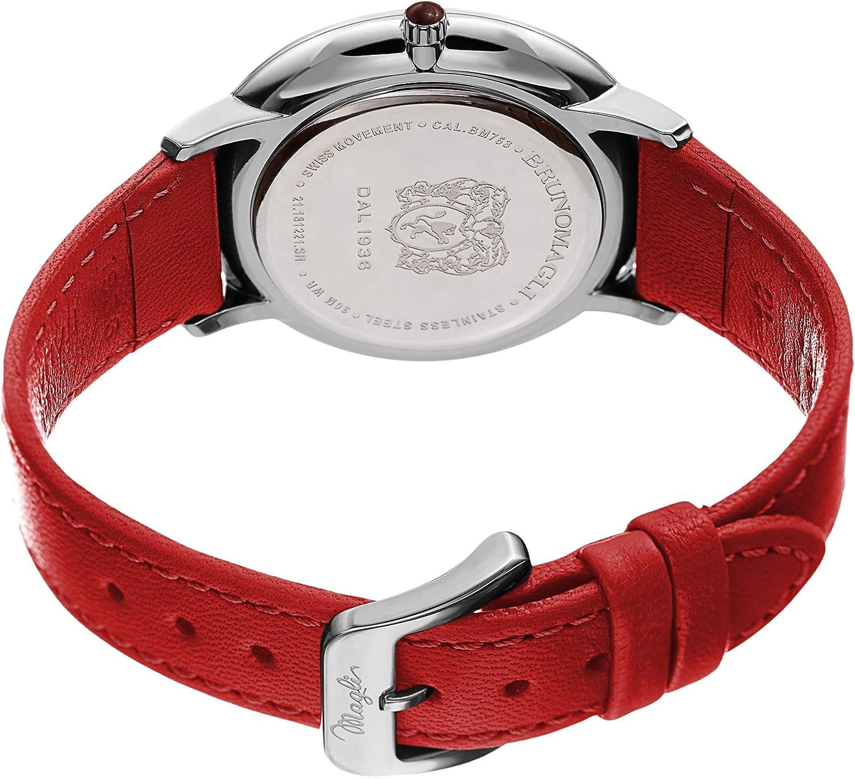 Bruno Magli Women's Roma 1221 Swiss Quartz White Dial Italian Smooth Leather Strap Watch Red