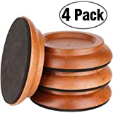 Upright Piano Caster Cups,Eison Solid Sapeliwood Piano Caster Piano Leg Floor Protectors with Non-Slip & Anti-Noise Foam for Hardwood Floor, Set of 4