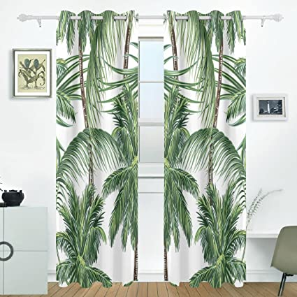 JSTEL Palm Trees Tropical Leaves Curtains Drapes Panels Darkening Blackout Grommet Room Divider For Patio Window