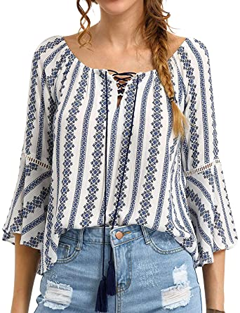 b2f5a84bd59f65 Amazon.com  ZXZY Women 3 4 Sleeve Floral Print T-Shirt Criss Cross Lace Up  Scoop Neck Bell Sleeve Blouse Tops  Clothing