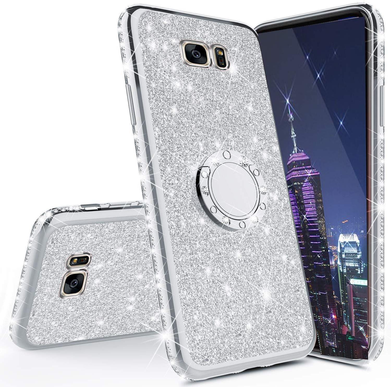 HMTECH Galaxy S7 Edge Funda Bling Glitter Silicona TPU Ultra Fina Suave Enchapado Anti-Arañazos Carcasa con soporte de anillo de 360 °Compatible with Samsung Galaxy S7 Edge,Silver Holder TPU