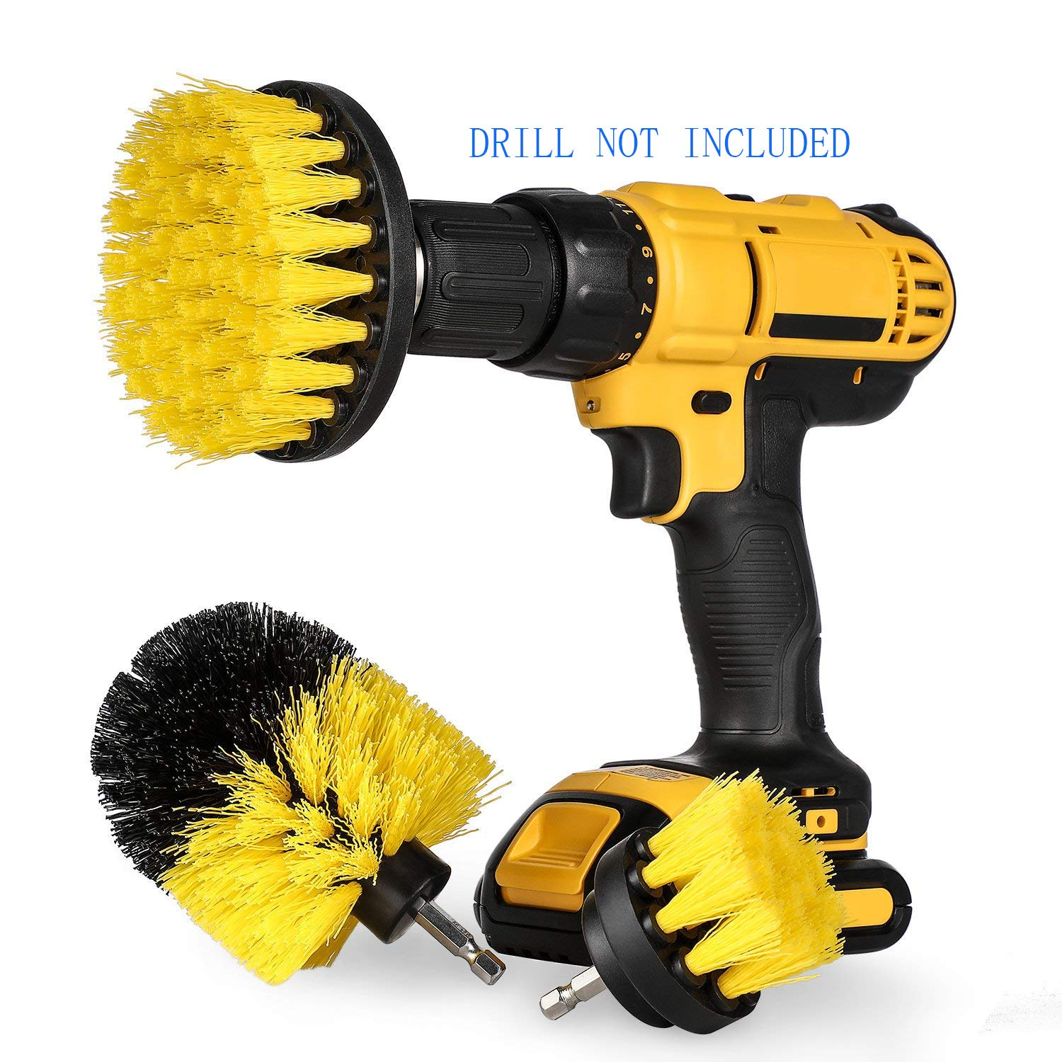 Drill Brush Power Scrubber Brush for Drill Attachment Kits Power Cleaning Brush High Speed and More Effective for Cleaning Bathroom Surfaces, Tile and Grout, Hard Water Stains, Rust-3 Packs