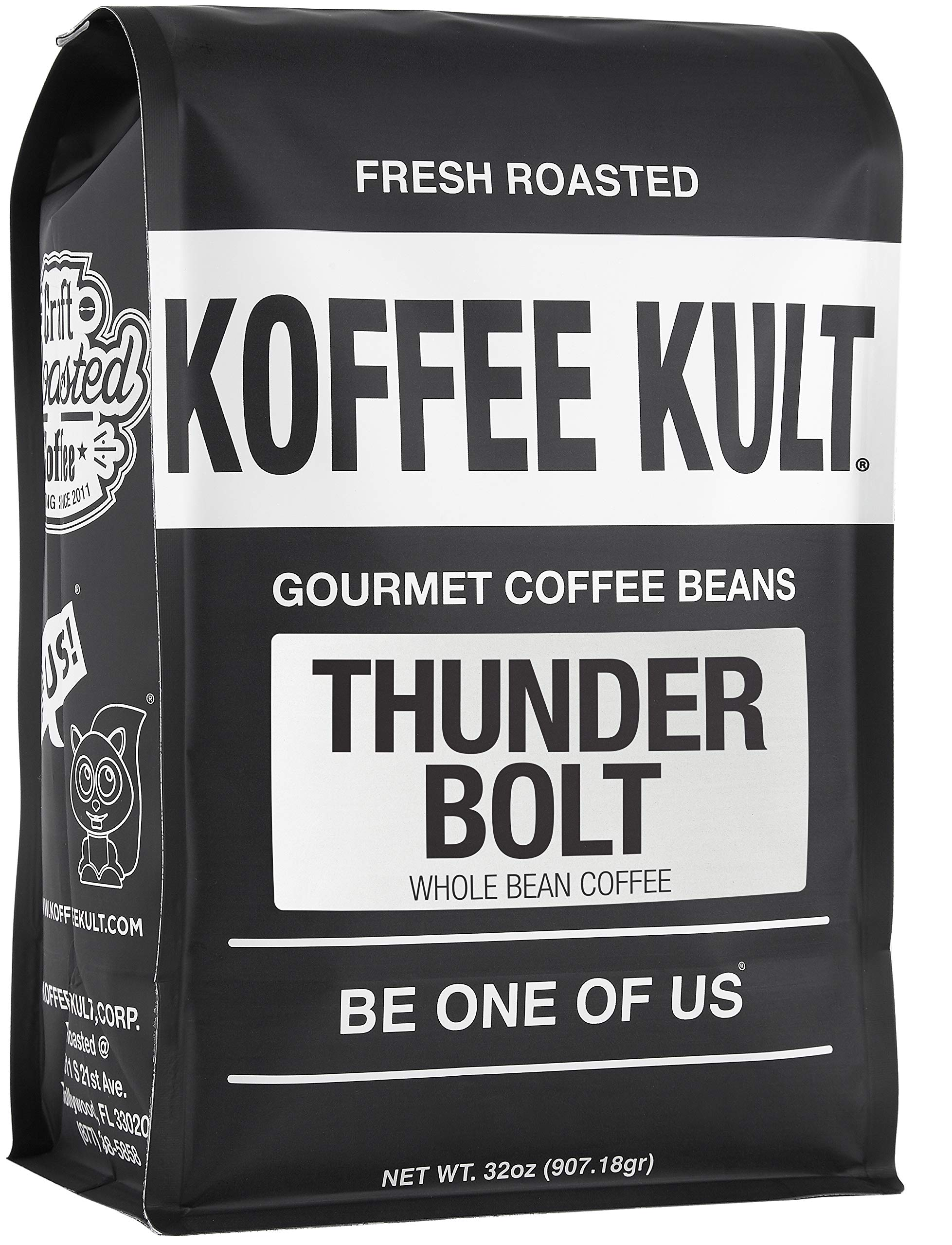 Koffee Kult Thunder Bolt Whole Bean Coffee, with French Roast Colombia Coffee Beans - 32 ounce bag by Koffee Kult